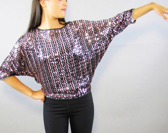Sale! 70s, Disco, Sequin, Party Top // 1970s, Pink, Silver, Blouse, Shirt, Women's Size Small, Medium