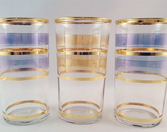 SALE - Blue and Gold Striped Glasses - set of 3