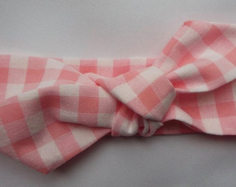 Pink and white check adult head band hair wrap scarf bandana headwrap
