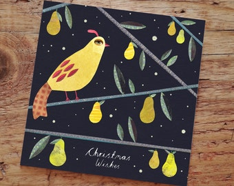PARTRIDGE PEAR TREE - Christmas Card, Greeting Card, Merry Christmas, Partridge, Pear, Tree, Illustrated, Collage