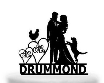 Personalised Pet Lovers Acrylic / wooden Wedding Cake topper Bride & Groom Shiloutte  Australian made