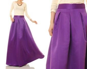 Purple Skirt | Maxi Skirt | Long Satin Skirt | Wedding Skirt | Circle Skirt | Evening Skirt | Prom Skirt | Ball Gown Skirt | Long Skirt 8069