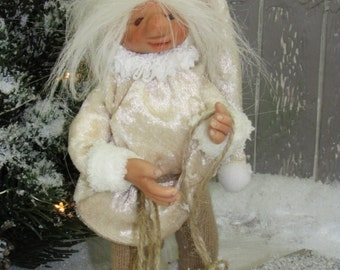 Jolly - posable OOAK art doll - troll-Pixie
