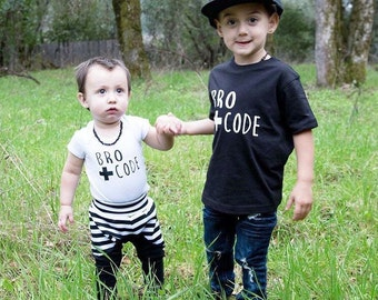 Bro Code toddler tee and onesie set, coming home outfit, birthday, newborn, bodysuit, brother, sibling