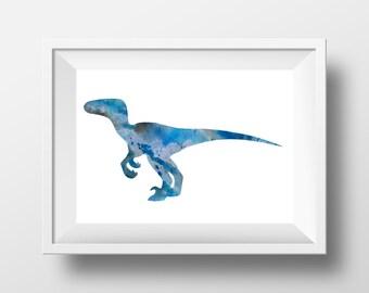 Blue velociraptor, Dinosaur poster, Kids room art, nursery art