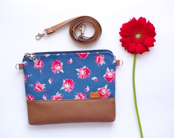 Small purse Floral gift Cotton bag Crossbody bag Red flowers purse Handbag Bags and Purses