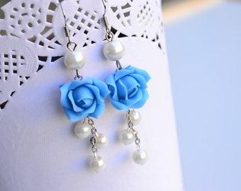 Blue roses earrings. Long earrings. Flower earrings. Polymer clay flower earrings jewelry.