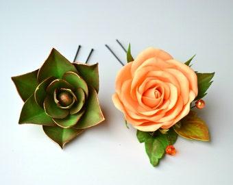 Wedding hair pins set. Succulent peach rose flower wedding bridal hair pin accessory. Green succulent. Rose hair pin