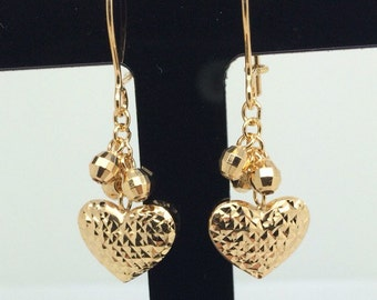 18K YG Diamond Cut Dangling Heart Earrings