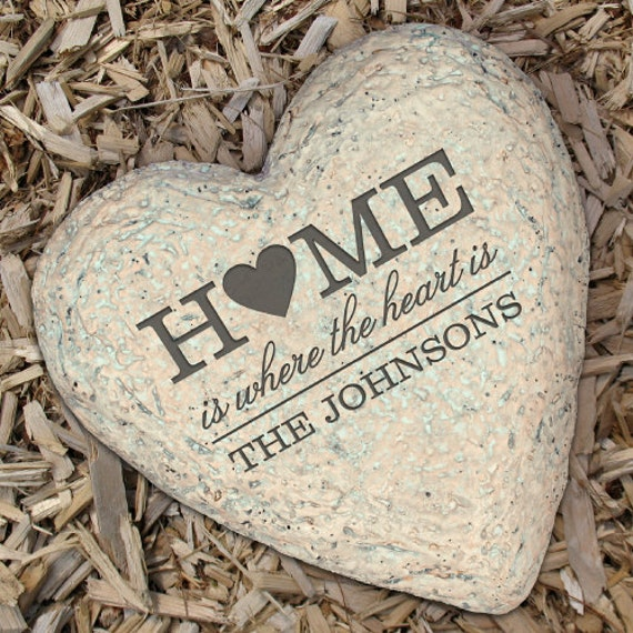 Names Of Decorative Stones : Personalized family garden stone heart decorative large