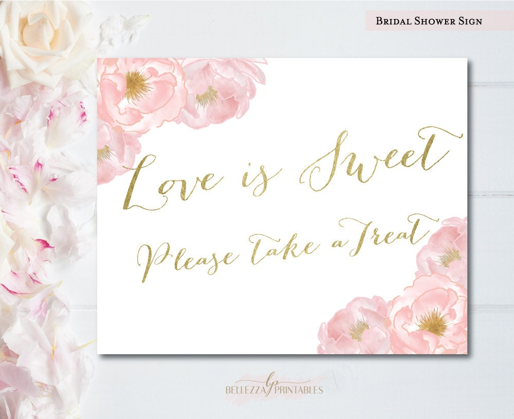 Candy Table Sign Love Is Sweet Bridal Shower Signs Love Is