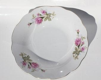 Vintage rose bowl; plate