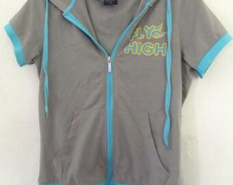 A Cute Vintage 90s era,Gray Short Sleeve HOODIE Top By AHAM Sport.S
