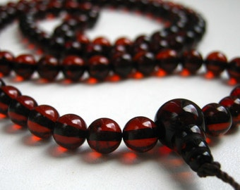 Dark cherry - 108 baltic amber mala for meditation for meditation (size Ø6 colour 6), buddhist meditation, guru bead, 108 bead mala