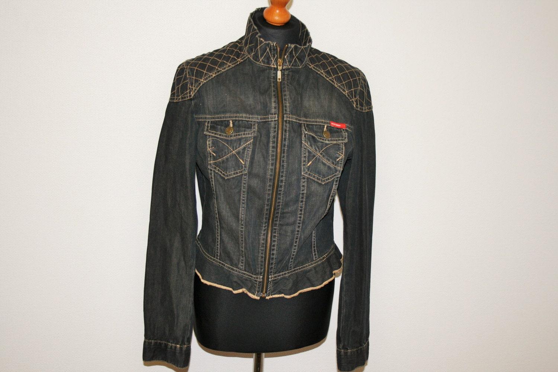 Denim Jacket MEXX Embroidered Dark Blue Womens Denim Jacket