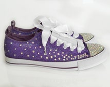 Glitter bridal shoes. gems, glitter bridal pumps, plimsolls, flats. purple and silver, sparkly custom made wedding shoes