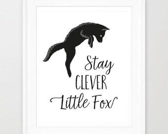 Nursery Wall Art, Stay Clever Little Fox, Woodland Nursery Printable, Fox Art Print