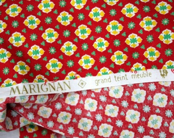 Vintage French Cotton Fabric by Marignan.  Long Length 2.60m  (1409)