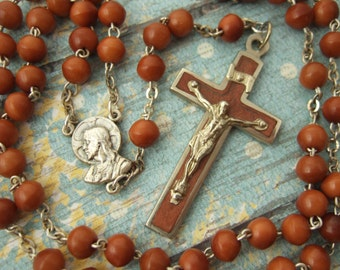 Vintage Catholic Rosary 6mm Brown Cocoa wood beads with heavy duty metal Crucifix