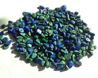 Malachite and lapis rough cut nuggets