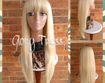 READY To SHIP // Nicki Minaj Inspired China Bangs Full Wig, Long & Straight Layered Wig, Ombre Platinum Blonde Wig // NOBLE