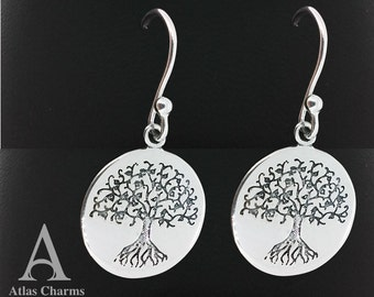 925 Sterling Silver Tree Of Life Etched Drop Earrings Double Sided