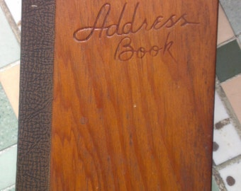 VINTAGE 1950's Wooden Address Book