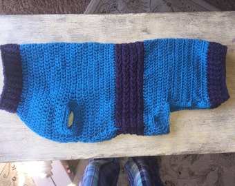 XXL Dog Sweater with Ribbed Edging and Star Stitch Crochet Pattern
