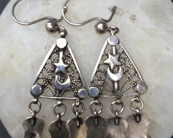 Egyptian - Bedouin - moon and star silver earrings