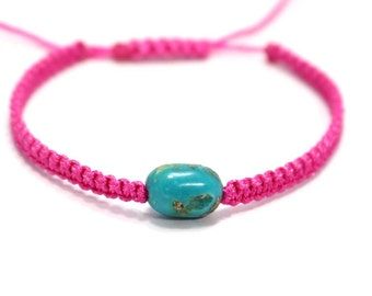 Natural Raw Turquoise Handmade Thread Bracelet Pink Free Size Adjustable By Amoreindia B311