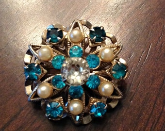 Vintage  Brooch  Blue with faux pearls  and blue rhinestones