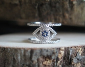 Thick evil eye ring
