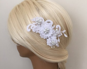 Bridal Hair Accessories, Wedding Head Piece, White Lace, Comb