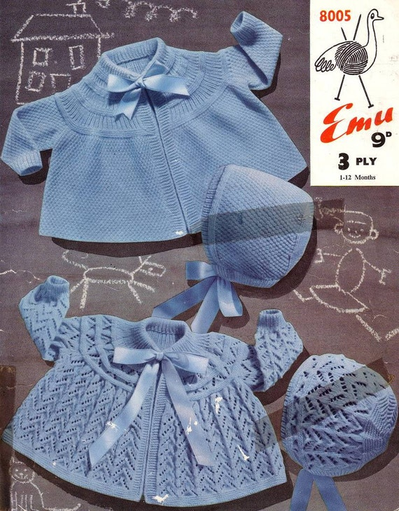 Vintage Knit Pattern Emu 8005 Baby Matinee Coats and Bonnets