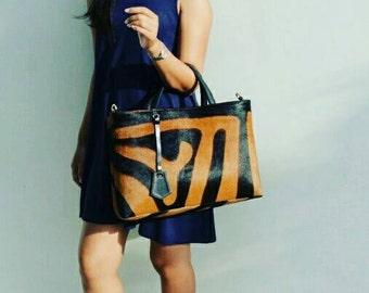 Zebra Hand bag, tote bag, leather tote bag, Animal print bag, women's bag, designer handbag, party bag, shopper bag, animal pattern leather