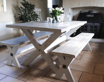 White driftwood effect  X Frame Dove & Grey Dining Table