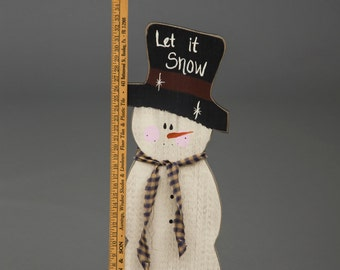 Primitive Outdoor Winter Christmas Snowman with Measuring Stick - Amish Made