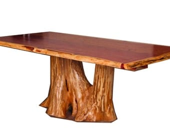 Tree trunk table etsy for Tree trunk dining table