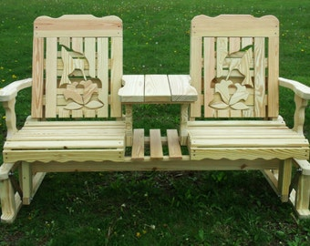 5 Foot Unfinished Pressure Treated Pine Designs Fancy Hummingbird and Flowers Glider Settee - Amish Made in the USA