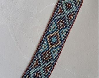 "strap loom miyuki ""fresco"" turquoise and chocolate"