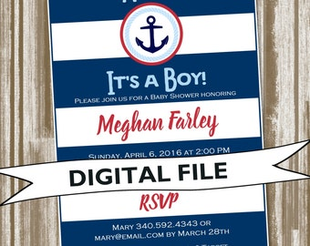 Bold Stripe Nautical theme Baby Shower invitation--Personalized Digital File