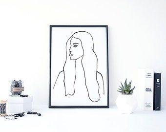 Art Print, Wall Art, Home Decor, Portrait, Minimalism, Scandi Print, PRETTY LADY