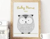 Baby Name Poster, Printable Poster, Kids Room Poster, Nursery Print, Nursery Wall Art, Digital Print, Baby Shower Gift, Owl Poster