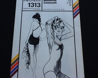 """Stretch & Sew pattern 1313. Vintage uncut 1979 misses' one piece one gethered swimsuit with low cut back. Bust 30""""-42"""""""