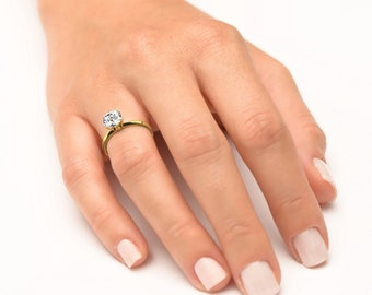 Solitaire Gold Natural Diamond Engagement Ring , 2.31 CT Round SI2 F Natural Diamond , Classic 14K Yellow Gold Ring Size 6.5