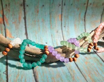 Sea Glass and Wood Bracelets