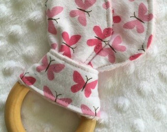ORGANIC Personalized Bunny Ear Crinkle Wooden Teething Ring, Girl Pink Butterflies with Minky or Organic Bamboo
