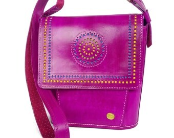 Tarini Designer hand bag Fuchsia  # Genuine leather handcrafted shoulder bag # Unique designer bag for women # Fuchsia Leather Messenger bag