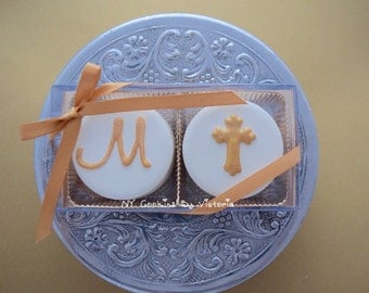 """Baptism/Christening Favors, -Initial Name + """"HOLY CROSS"""" 12 """"Two Pack"""" Chocolate Covered Oreos, Baptism Cookies, Christening Favors"""