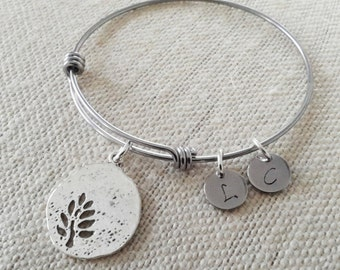Alex and Ani Inspired Family Tree Bracelet with Initials Kids Initials Bangle Bracelet Mothers Bracelet Grandmother Bracelet - Nana Bracelet